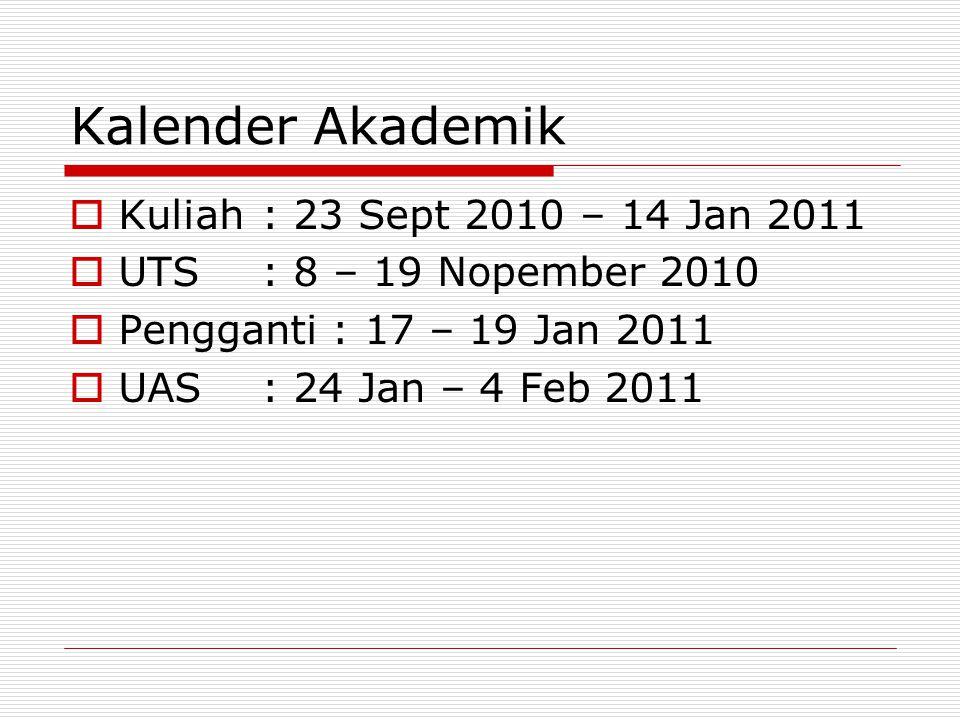 Kalender Akademik Kuliah : 23 Sept 2010 – 14 Jan 2011