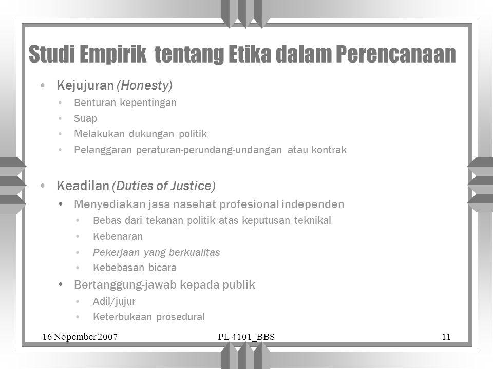 Studi Empirik tentang Etika dalam Perencanaan