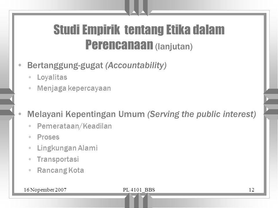 Studi Empirik tentang Etika dalam Perencanaan (lanjutan)