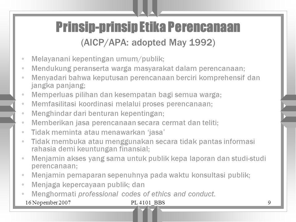 Prinsip-prinsip Etika Perencanaan (AICP/APA: adopted May 1992)