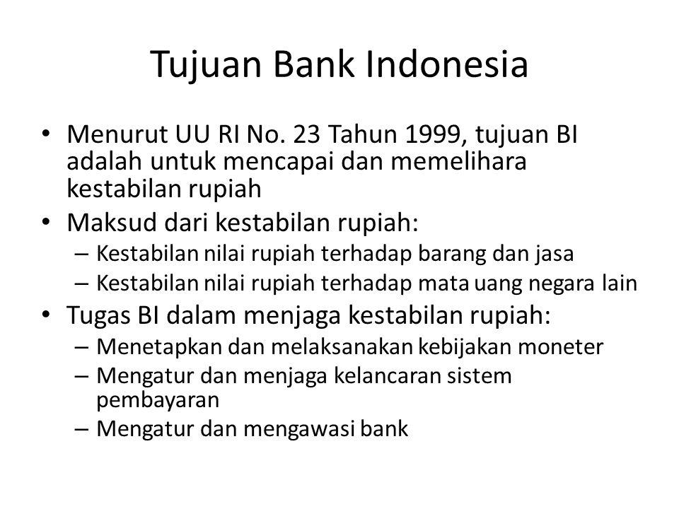 Tujuan Bank Indonesia Menurut UU RI No. 23 Tahun 1999, tujuan BI adalah untuk mencapai dan memelihara kestabilan rupiah.