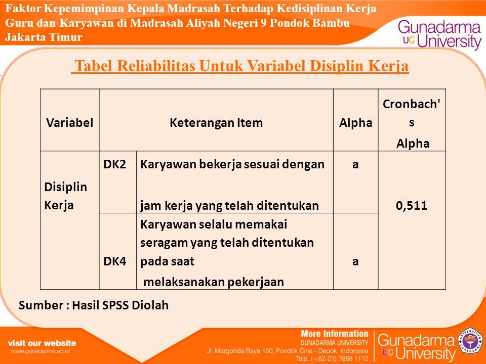 Tabel Reliabilitas Untuk Variabel Disiplin Kerja