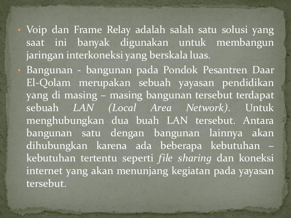 Voip dan Frame Relay adalah salah satu solusi yang saat ini banyak digunakan untuk membangun jaringan interkoneksi yang berskala luas.