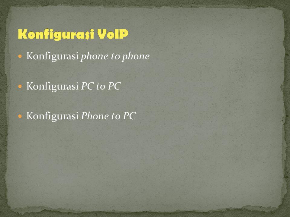 Konfigurasi VoIP Konfigurasi phone to phone Konfigurasi PC to PC