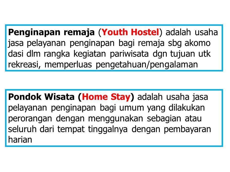 Penginapan remaja (Youth Hostel) adalah usaha jasa pelayanan penginapan bagi remaja sbg akomo dasi dlm rangka kegiatan pariwisata dgn tujuan utk rekreasi, memperluas pengetahuan/pengalaman