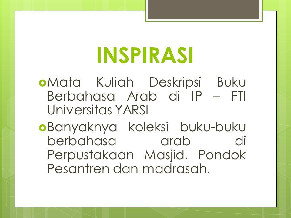 INSPIRASI Mata Kuliah Deskripsi Buku Berbahasa Arab di IP – FTI Universitas YARSI.