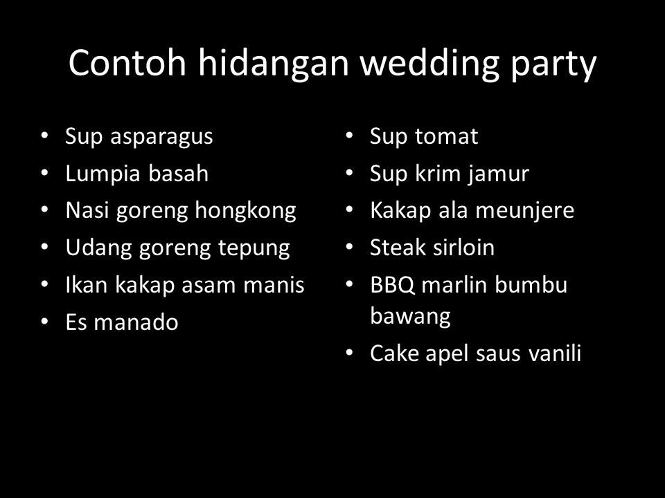 Contoh hidangan wedding party