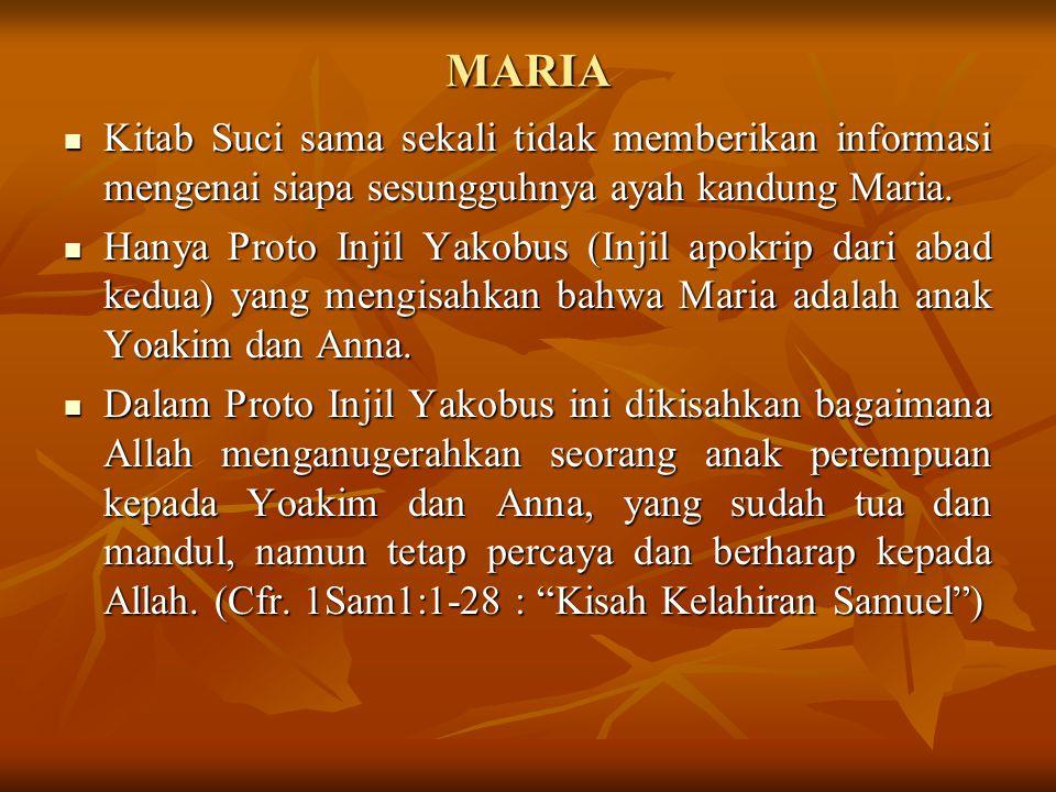 MARIA Kitab Suci sama sekali tidak memberikan informasi mengenai siapa sesungguhnya ayah kandung Maria.