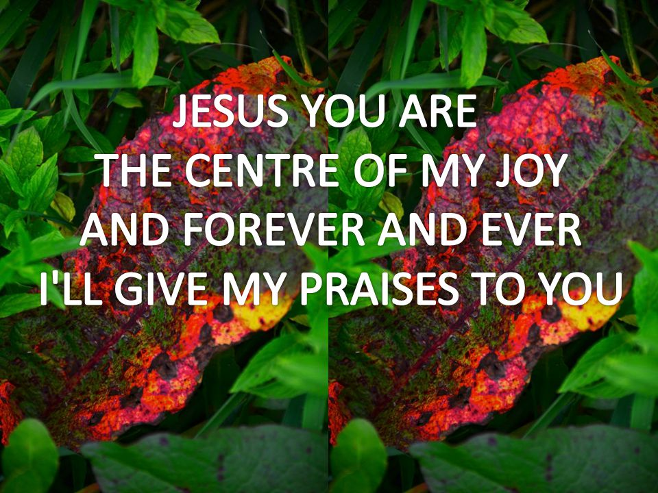 THE CENTRE OF MY JOY AND FOREVER AND EVER I LL GIVE MY PRAISES TO YOU
