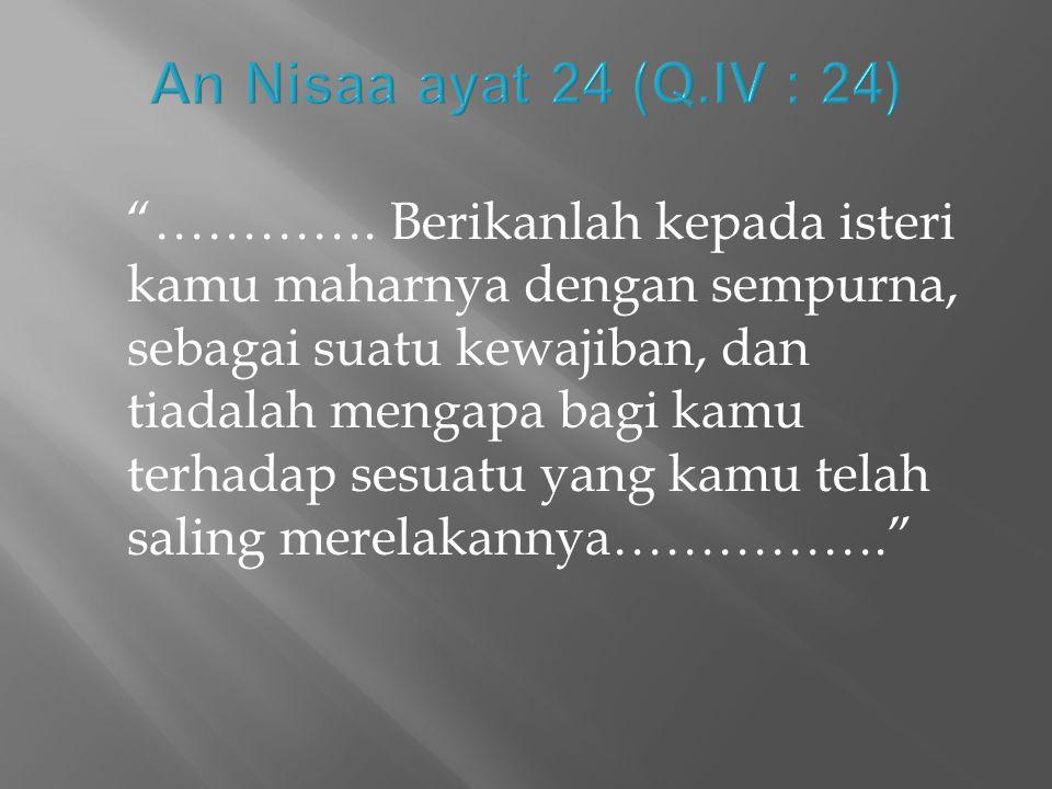 An Nisaa ayat 24 (Q.IV : 24)