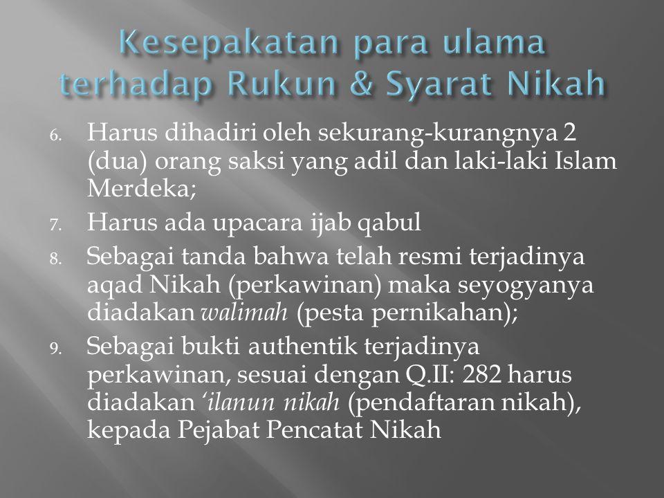 Kesepakatan para ulama terhadap Rukun & Syarat Nikah