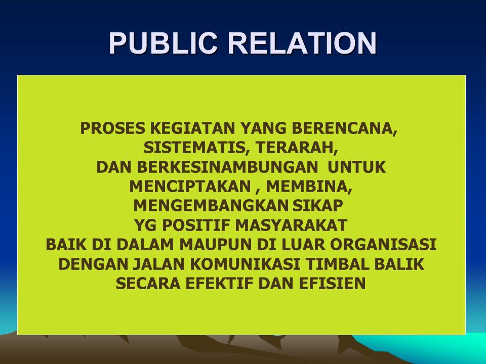 PUBLIC RELATION PROSES KEGIATAN YANG BERENCANA, SISTEMATIS, TERARAH,