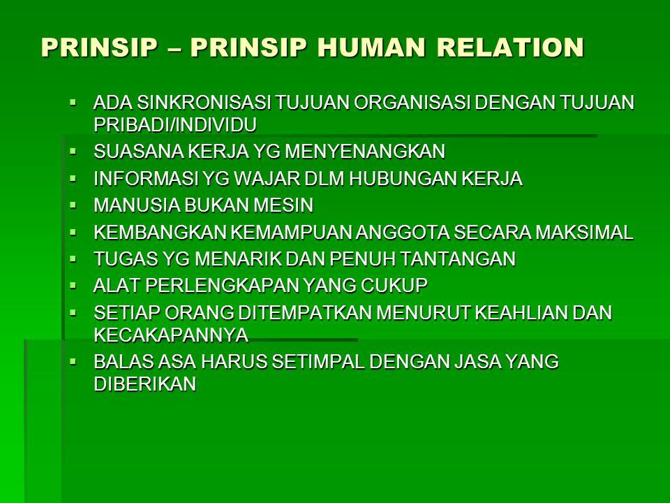 PRINSIP – PRINSIP HUMAN RELATION