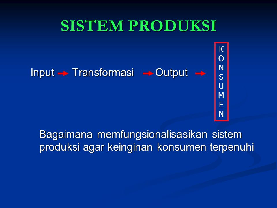 SISTEM PRODUKSI Input Transformasi Output