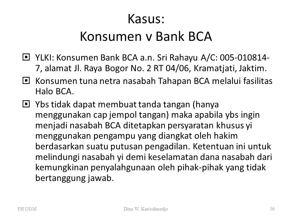 Kasus: Konsumen v Bank BCA