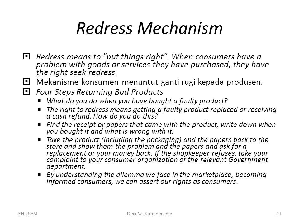 Redress Mechanism