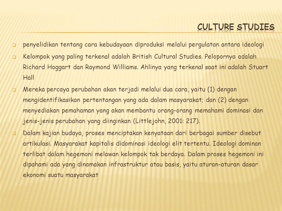 CULTURE STUDIES penyelidikan tentang cara kebudayaan diproduksi melalui pergulatan antara ideologi.