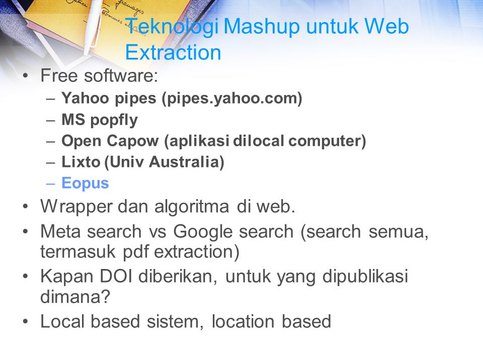 Teknologi Mashup untuk Web Extraction