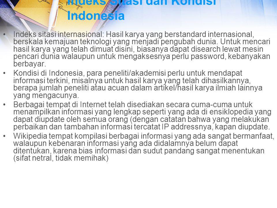 Indeks Sitasi dan Kondisi Indonesia