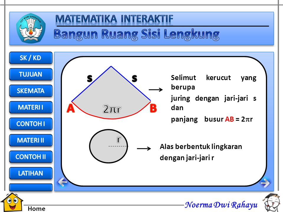 2πr s A B r Selimut kerucut yang berupa juring dengan jari-jari s dan
