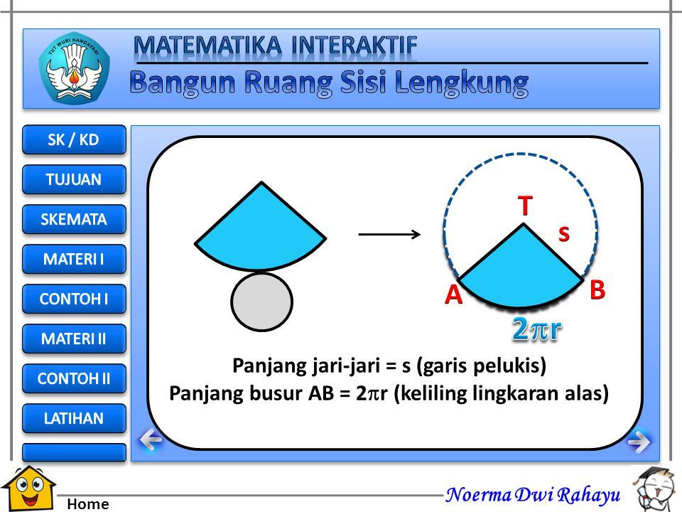 2r T s S B A Panjang jari-jari = s (garis pelukis)