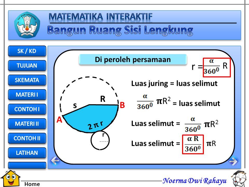 r = R R s A B 𝛑R2 𝛑R2 Di peroleh persamaan Luas juring = luas selimut