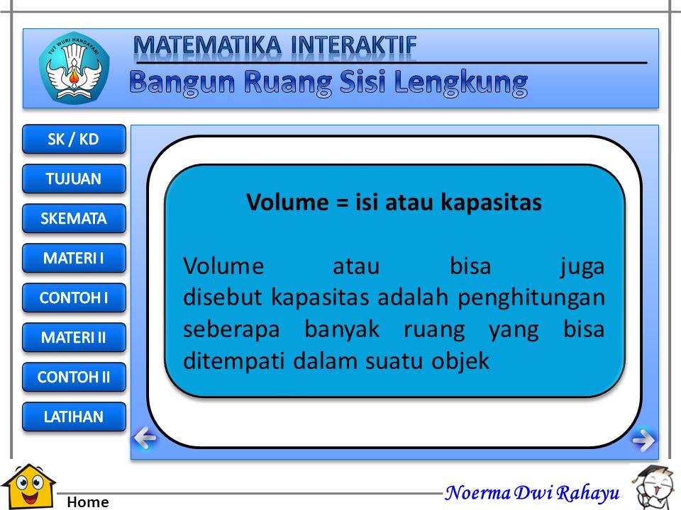 Volume = isi atau kapasitas