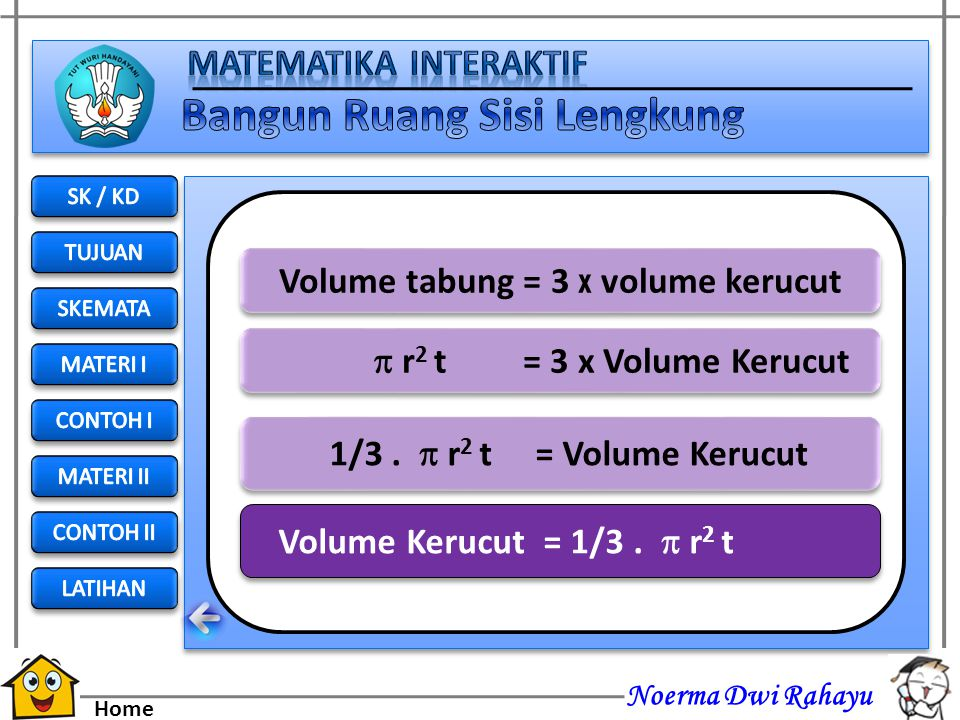 Volume tabung = 3 x volume kerucut