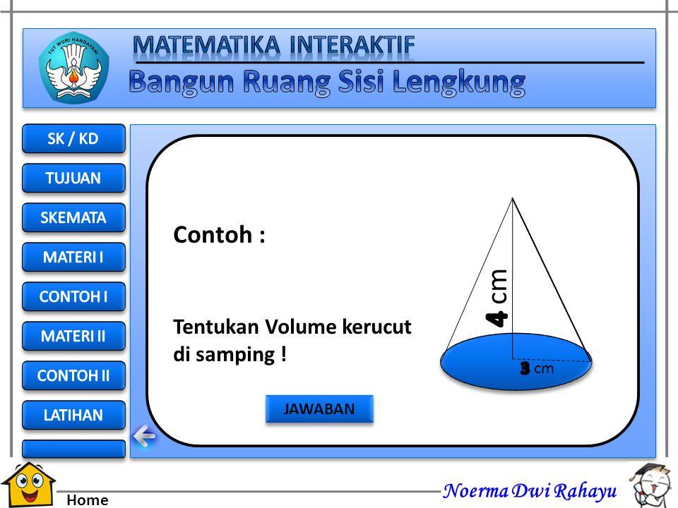 4 cm Contoh : Tentukan Volume kerucut di samping ! SK / KD TUJUAN