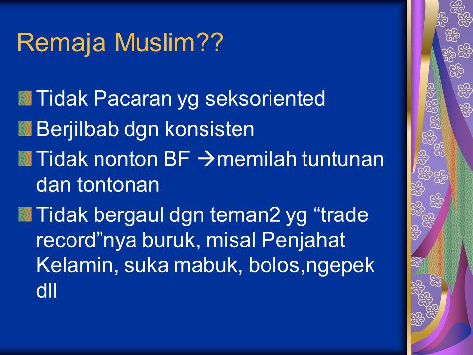 Remaja Muslim Tidak Pacaran yg seksoriented Berjilbab dgn konsisten