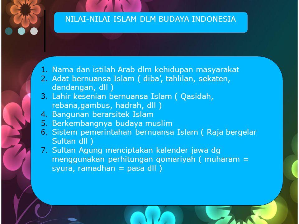 NILAI-NILAI ISLAM DLM BUDAYA INDONESIA