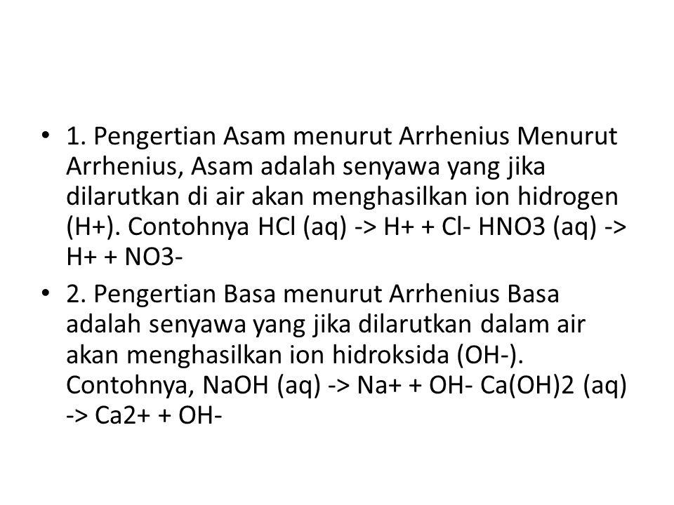 1. Pengertian Asam menurut Arrhenius Menurut Arrhenius, Asam adalah senyawa yang jika dilarutkan di air akan menghasilkan ion hidrogen (H+). Contohnya HCl (aq) -> H+ + Cl- HNO3 (aq) -> H+ + NO3-