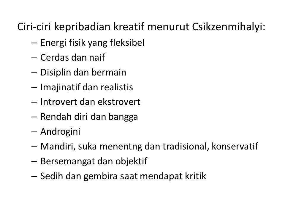 Ciri-ciri kepribadian kreatif menurut Csikzenmihalyi: