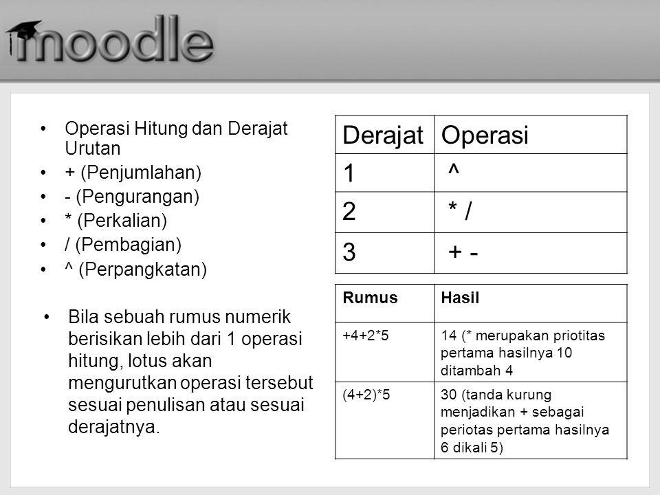 Derajat Operasi 1 ^ 2 * / 3 + - Operasi Hitung dan Derajat Urutan