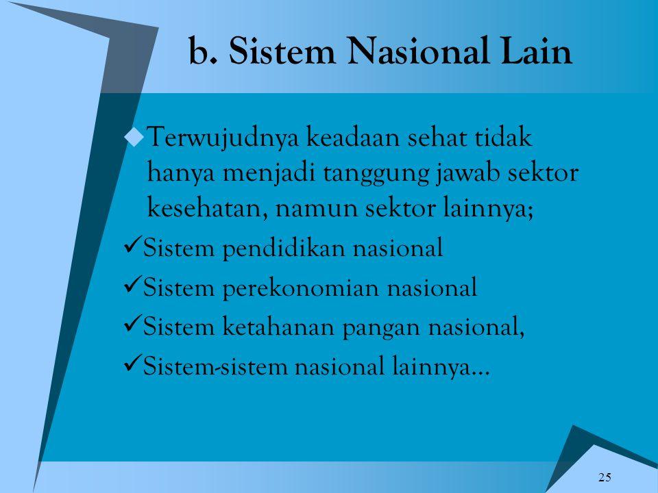 b. Sistem Nasional Lain Terwujudnya keadaan sehat tidak hanya menjadi tanggung jawab sektor kesehatan, namun sektor lainnya;