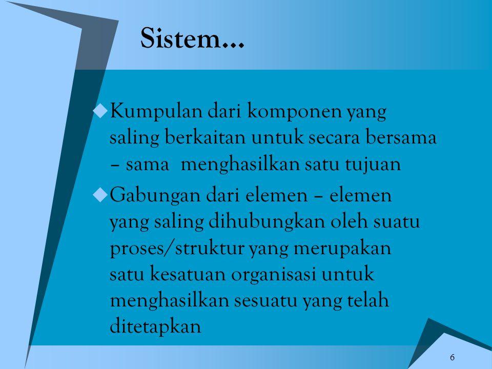 Sistem… Kumpulan dari komponen yang saling berkaitan untuk secara bersama – sama menghasilkan satu tujuan.