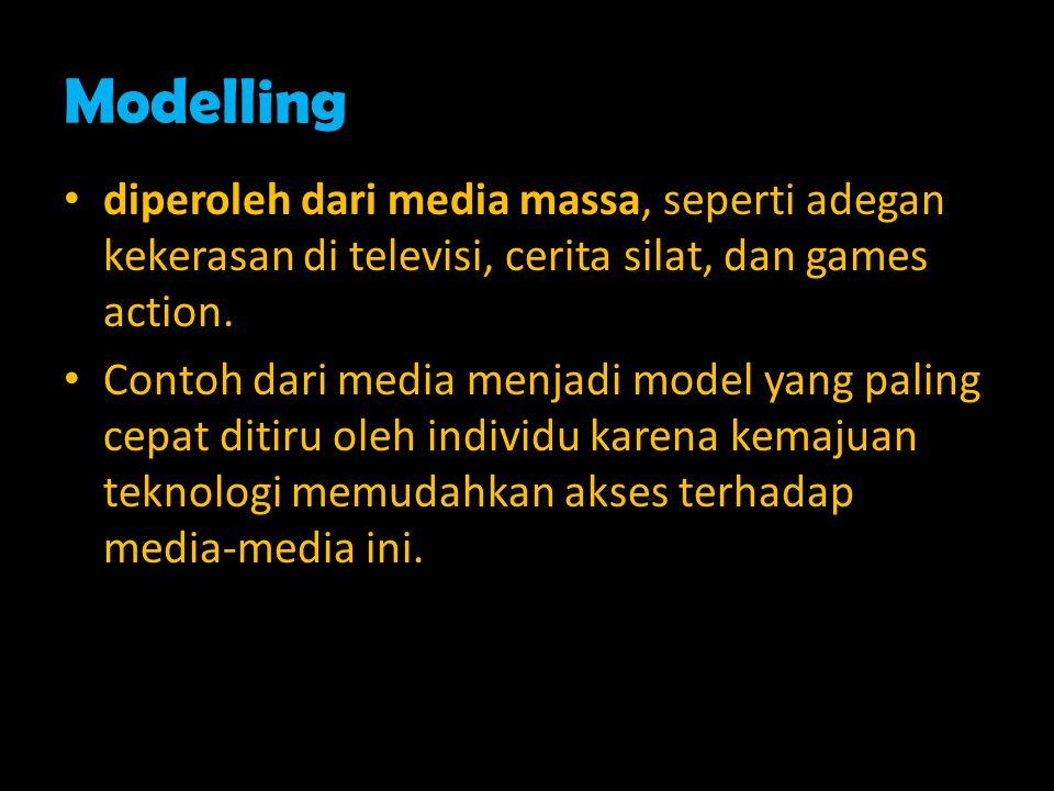 Modelling diperoleh dari media massa, seperti adegan kekerasan di televisi, cerita silat, dan games action.