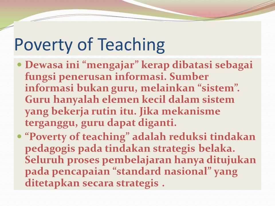 Poverty of Teaching