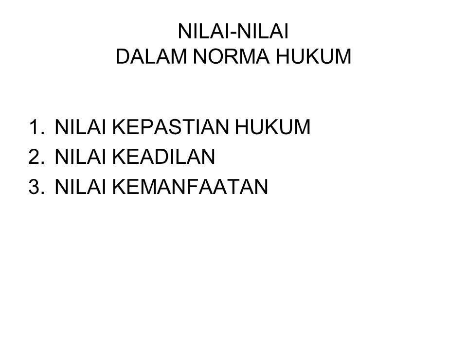 NILAI-NILAI DALAM NORMA HUKUM