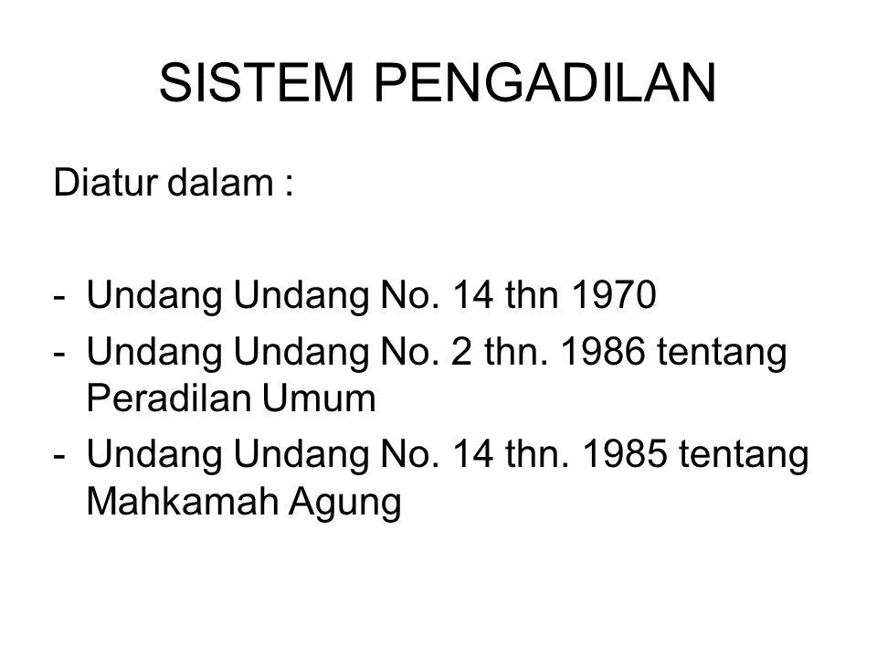 SISTEM PENGADILAN Diatur dalam : Undang Undang No. 14 thn 1970