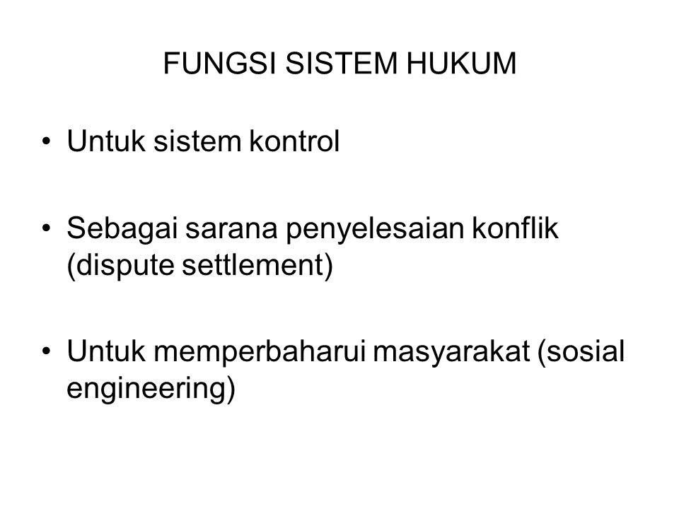 FUNGSI SISTEM HUKUM Untuk sistem kontrol. Sebagai sarana penyelesaian konflik (dispute settlement)