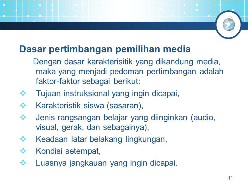 Dasar pertimbangan pemilihan media