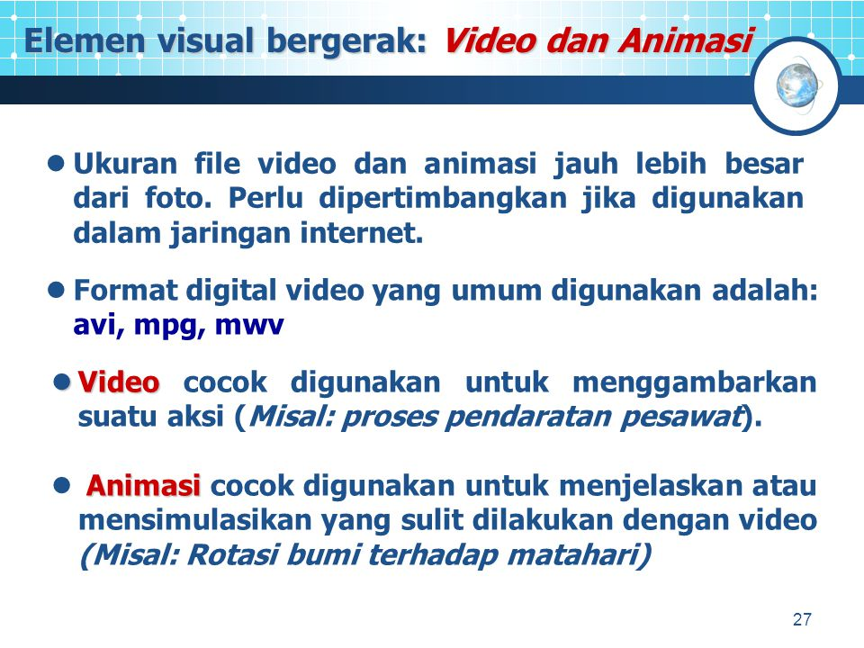 Elemen visual bergerak: Video dan Animasi