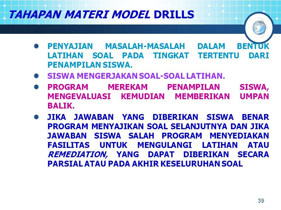 TAHAPAN MATERI MODEL DRILLS