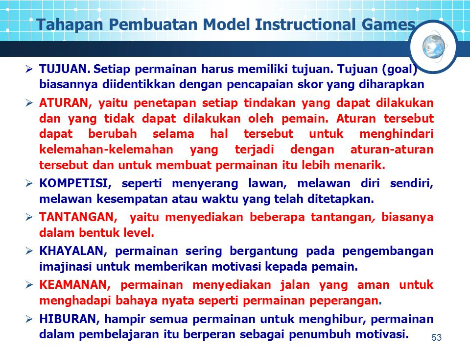 Tahapan Pembuatan Model Instructional Games