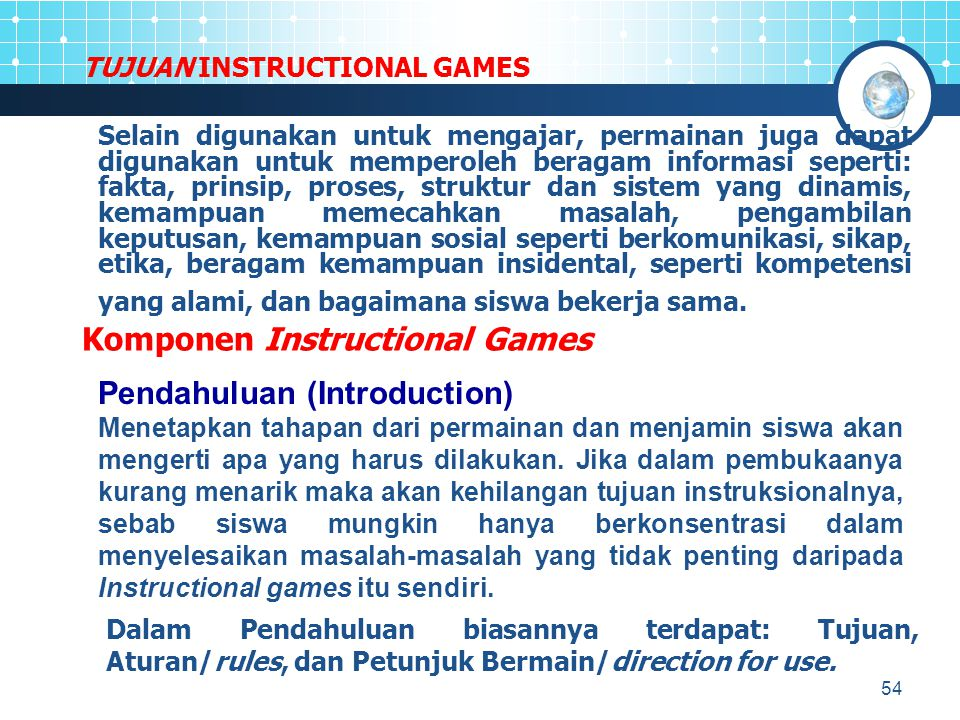TUJUAN INSTRUCTIONAL GAMES