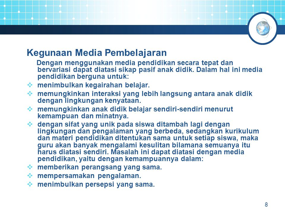 Kegunaan Media Pembelajaran
