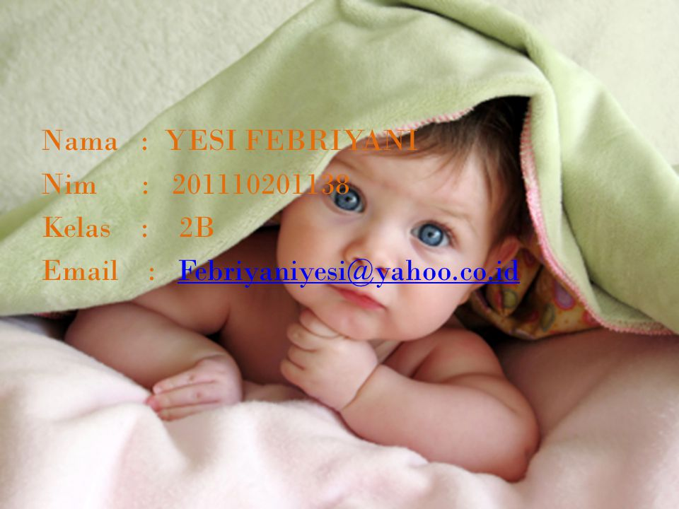 Nama : YESI FEBRIYANI Nim : 201110201138 Kelas : 2B Email : Febriyaniyesi@yahoo.co.id
