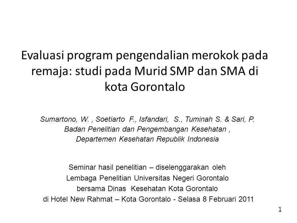 Evaluasi program pengendalian merokok pada remaja: studi pada Murid SMP dan SMA di kota Gorontalo