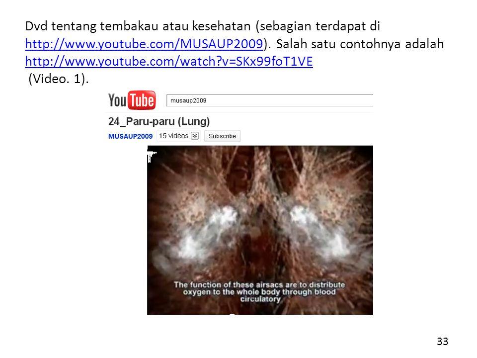 Dvd tentang tembakau atau kesehatan (sebagian terdapat di http://www